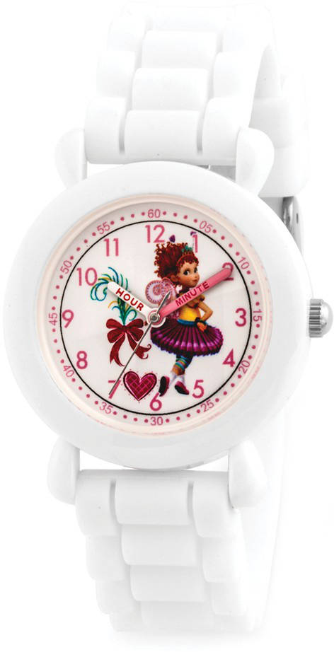 Disney Kids Fancy Nancy White Silicone Band Time Teacher Watch XWA5881