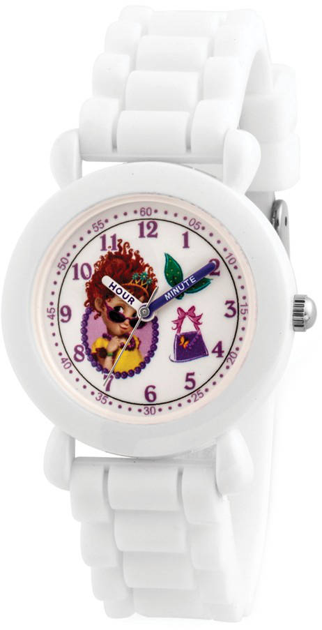 Disney Kids Fancy Nancy White Silicone Band Time Teacher Watch XWA5883
