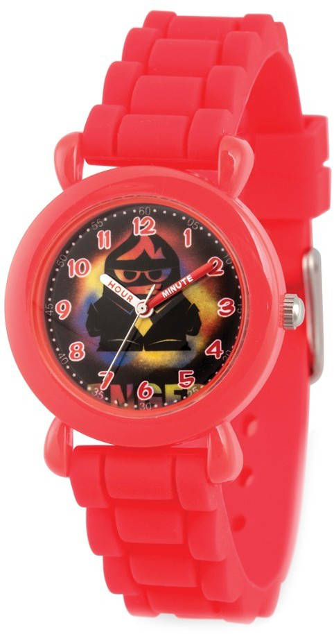 Disney Kids Inside Out Anger Red Silicone Band Time Teacher Watch