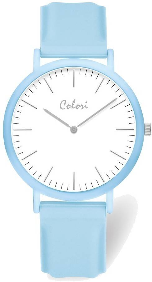 Colori White Dial Light Blue Case & Strap Watch