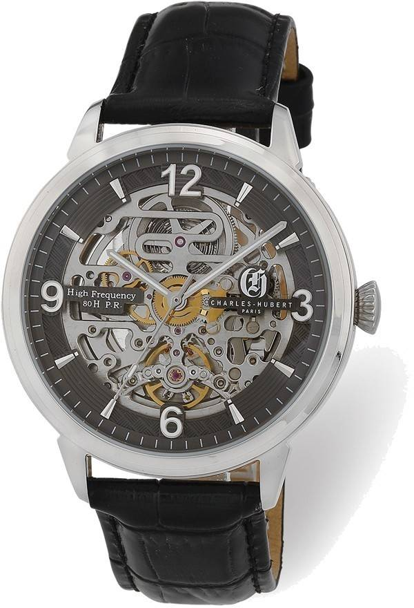 Charles Hubert Stainless Steel Black Skeleton Dial Automatic Watch