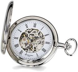 Charles Hubert Chrome-finish White Skeleton Dial Pocket Watch
