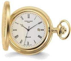 Charles Hubert Gold-Finish Off-White Dial with Date Pocket Watch