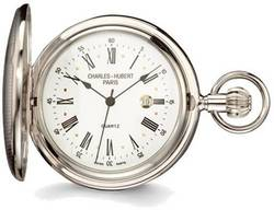 Charles Hubert Chrome Finish Brass Striped Pocket Watch