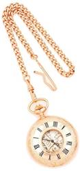 Charles Hubert Pink Finish Brass Window Cover Pocket Watch