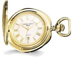 Charles Hubert Gold-Finish Brass w/ Shield Pocket Watch