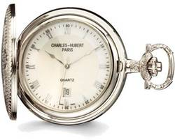 Charles Hubert Chrome Finish Brass w/ Shield Pocket Watch