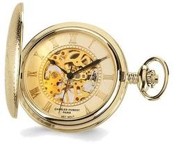 Charles Hubert Gold-Finish Brass Skeleton Pocket Watch