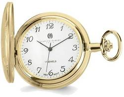 Charles Hubert Gold-Finish Brass Basketweave Pocket Watch XWA3362