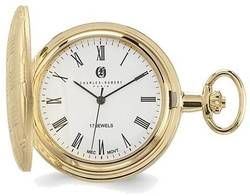 Charles Hubert Gold-Finish Brass Basketweave Pocket Watch XWA3363