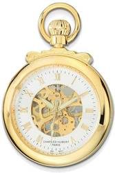 Charles Hubert Gold-Finish Open Face Skeleton Dial Pocket Watch
