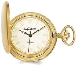 Swingtime Gold-Finish Brass Quartz 42mm Pocket Watch