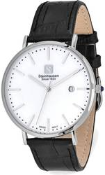 Steinhausen Mens Burgdorf Stainless Steel White Dial Black Strap Watch