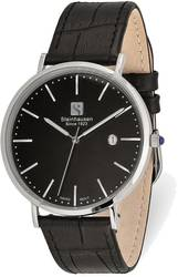 Steinhausen Mens Burgdorf Stainless Steel Black Dial Black Strap Watch