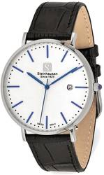 Steinhausen Mens Burgdorf Stainless White Dial Blue Hands Watch