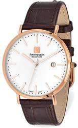 Steinhausen Mens Burgdorf Pink Finish Brown Strap Watch