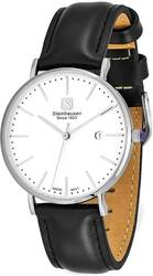 Steinhausen Ladies Burgdorf Stainless Steel White Dial Black Strap Watch