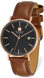 Steinhausen Ladies Burgdorf Pink Finish Black Dial Brown Strap Watch