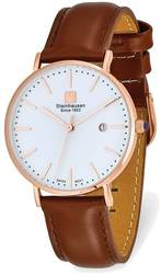 Steinhausen Ladies Burgdorf Pink Finish White Dial Brown Strap Watch