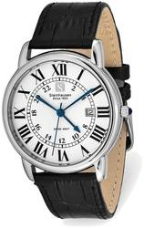 Steinhausen Delemont Stainless Steel White Dial Black Strap Watch