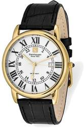Steinhausen Delemont IPG-plated White Dial Black Strap Watch