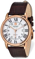 Steinhausen Delemont Pink Finish White Dial Brown Strap Watch