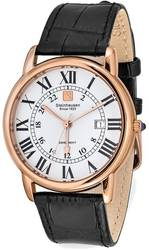 Steinhausen Delemont Pink Finish White Dial Black Strap Watch