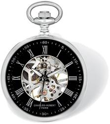 Charles Hubert Chrome Finish Open Face Black Skeleton Pocket Watch
