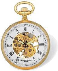 Charles Hubert Gold-Finish Open Face White Skeleton Pocket Watch