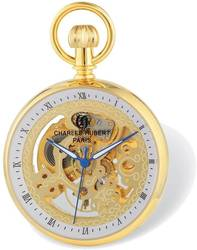 Charles Hubert Gold-Finish Open Face Skeleton Pocket Watch