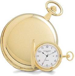 Charles Hubert Gold-Plated White Dial with Date Pocket Watch