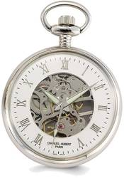 Charles Hubert Chrome-finish Off-White Ceramic Dial Pocket Watch