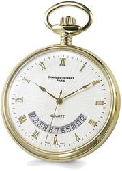 Charles Hubert Gold-Finish White Dial Gold-Tone Pocket Watch