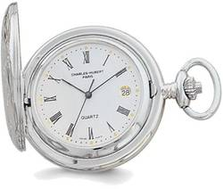 Charles Hubert Chrome-finish White Dial Three Hands Pocket Watch