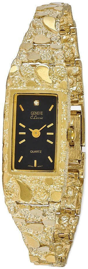 10K Yellow Gold 15x31mm Black Dial Rectangular Face Nugget Watch