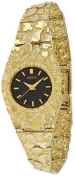 10K Yellow Gold 22mm Black Dial Nugget Watch