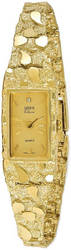 10K Yellow Gold 15x31mm Champagne Dial Rectangular Face Nugget Watch