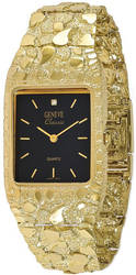 10K Yellow Gold 27x47mm Black Dial Square Face Nugget Watch