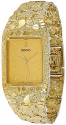 10K Yellow Gold 27x47mm Champagne Dial Square Face Nugget Watch
