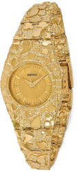 14K Yellow Gold Ladies 22mm Circular Champagne Dial Solid Nugget Watch