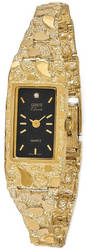 14K Yellow Gold Ladies 15x31mm Rectangular Black Dial Solid Nugget Watch