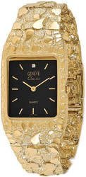 14K Yellow Gold Mens 27x47mm Squared Black Dial Solid Nugget Watch