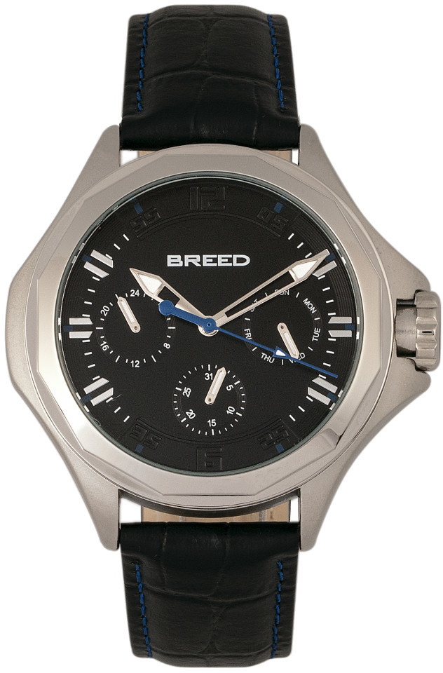 Breed Tempe Leather-Band Watch w/Day/Date - Black/Silver-Tone