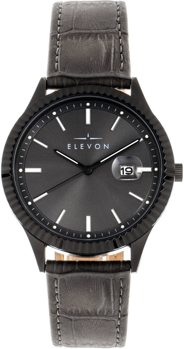 Elevon Concorde Leather-Band Watch w/Date - Black/Gunmetal