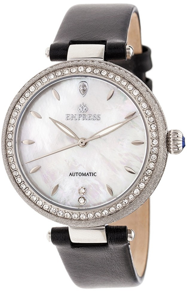 Empress Louise Automatic MOP Leather-Band Watch - Silver-Tone