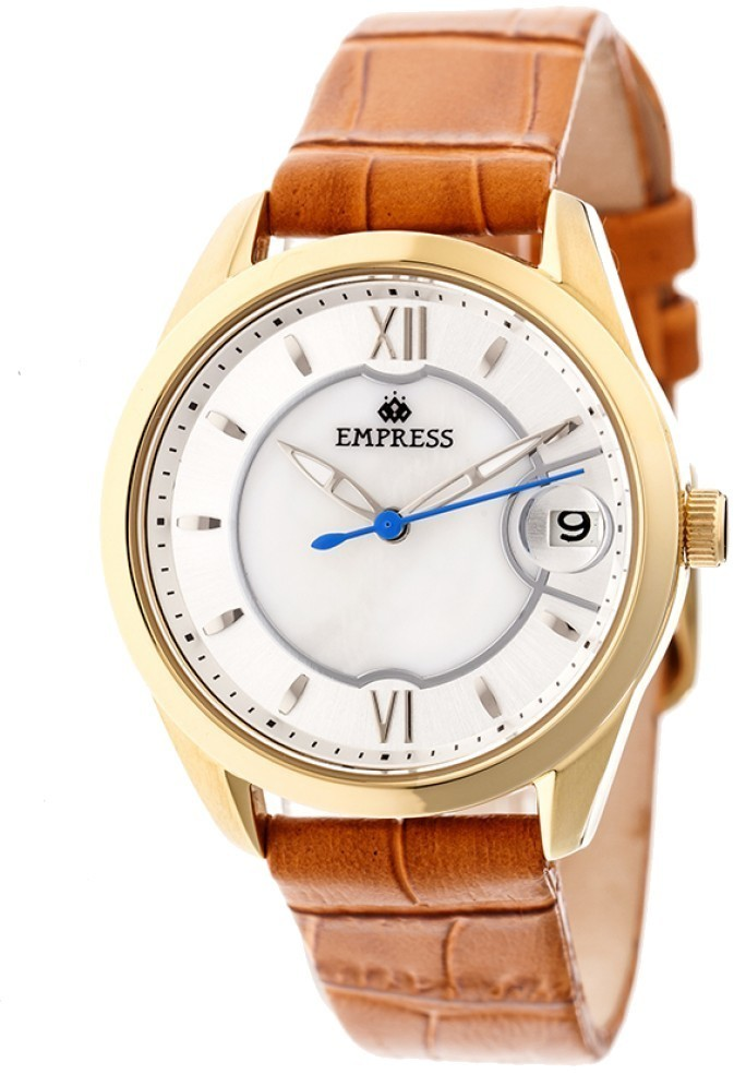 Empress Messalina Automatic MOP Leather-Band Watch w/Date - Camel