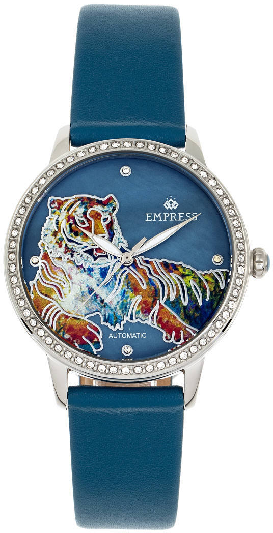 Empress Diana Automatic Engraved MOP Leather-Band Watch - Teal