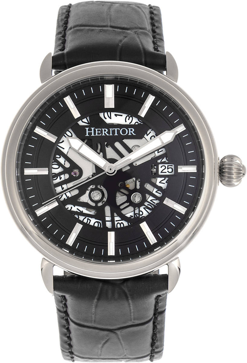 Heritor Automatic Mattias Leather-Band Watch w/Date - Silver-Tone/Black