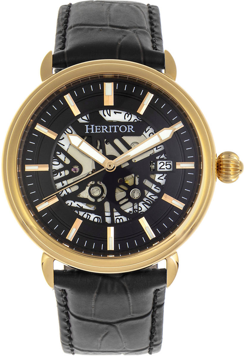 Heritor Automatic Mattias Leather-Band Watch w/Date - Gold-Tone/Black