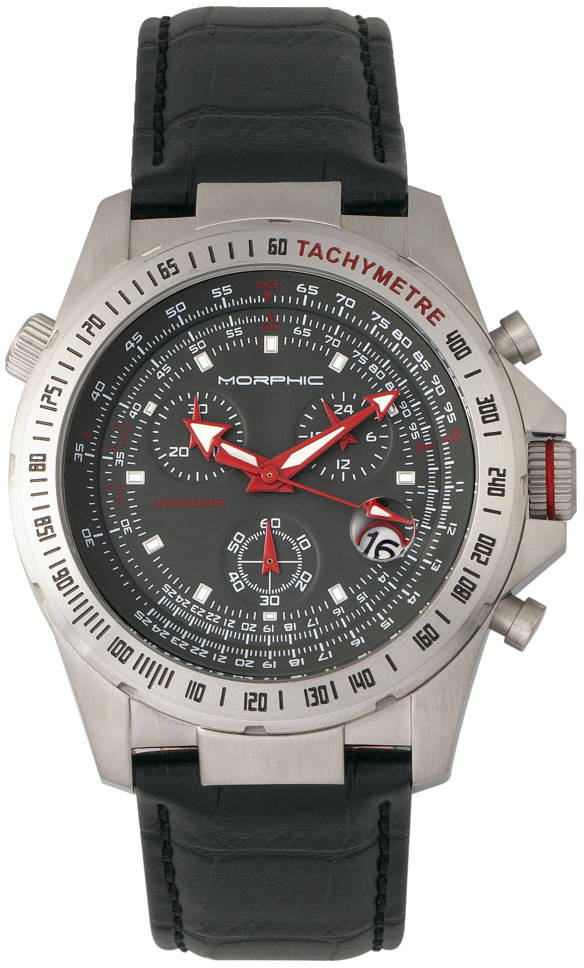Morphic M36 Series Leather-Band Chronograph Watch - Silver-Tone/Charcoal